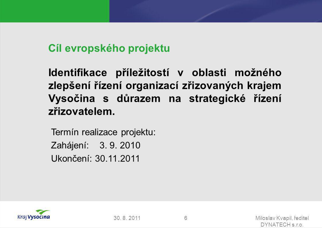 30. 8. 2011Miloslav Kvapil, ředitel DYNATECH s.r.o. 6 Cíl evropského projektu Identifikace příležitostí v oblasti možného zlepšení řízení organizací z