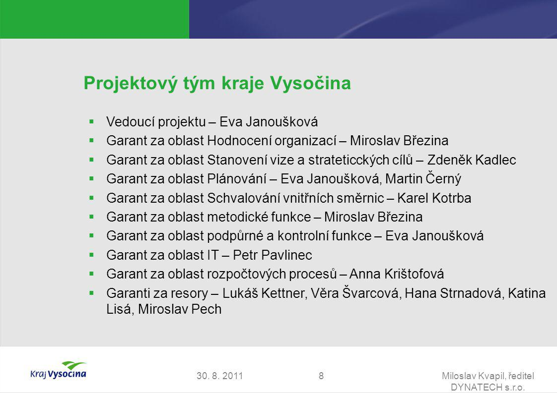 30. 8. 2011Miloslav Kvapil, ředitel DYNATECH s.r.o. 8 Projektový tým kraje Vysočina  Vedoucí projektu – Eva Janoušková  Garant za oblast Hodnocení o