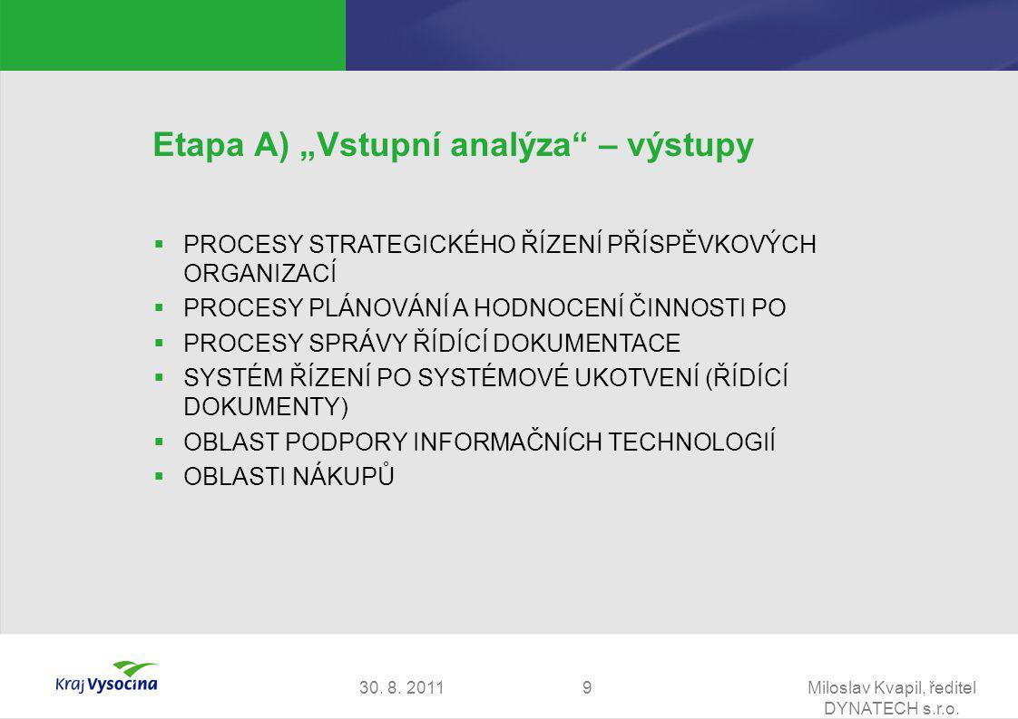 """30. 8. 2011Miloslav Kvapil, ředitel DYNATECH s.r.o. 9 Etapa A) """"Vstupní analýza"""" – výstupy  PROCESY STRATEGICKÉHO ŘÍZENÍ PŘÍSPĚVKOVÝCH ORGANIZACÍ  P"""