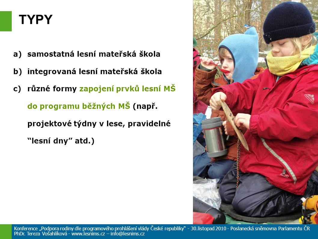 a)samostatná lesní mateřská škola b)integrovaná lesní mateřská škola c)různé formy zapojení prvků lesní MŠ do programu běžných MŠ (např.