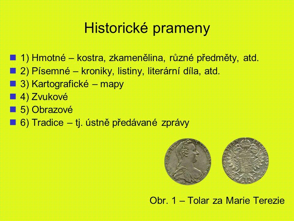 Historické prameny 1) Hmotné – kostra, zkamenělina, různé předměty, atd. 2) Písemné – kroniky, listiny, literární díla, atd. 3) Kartografické – mapy 4