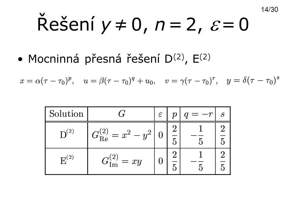 Řešení y ≠ 0, n = 2,  = 0 Mocninná přesná řešení D (2), E (2) 14/30