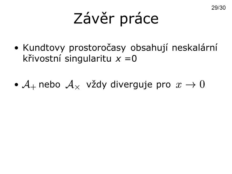 Závěr práce Kundtovy prostoročasy obsahují neskalární křivostní singularitu x =0 nebo vždy diverguje pro 29/30