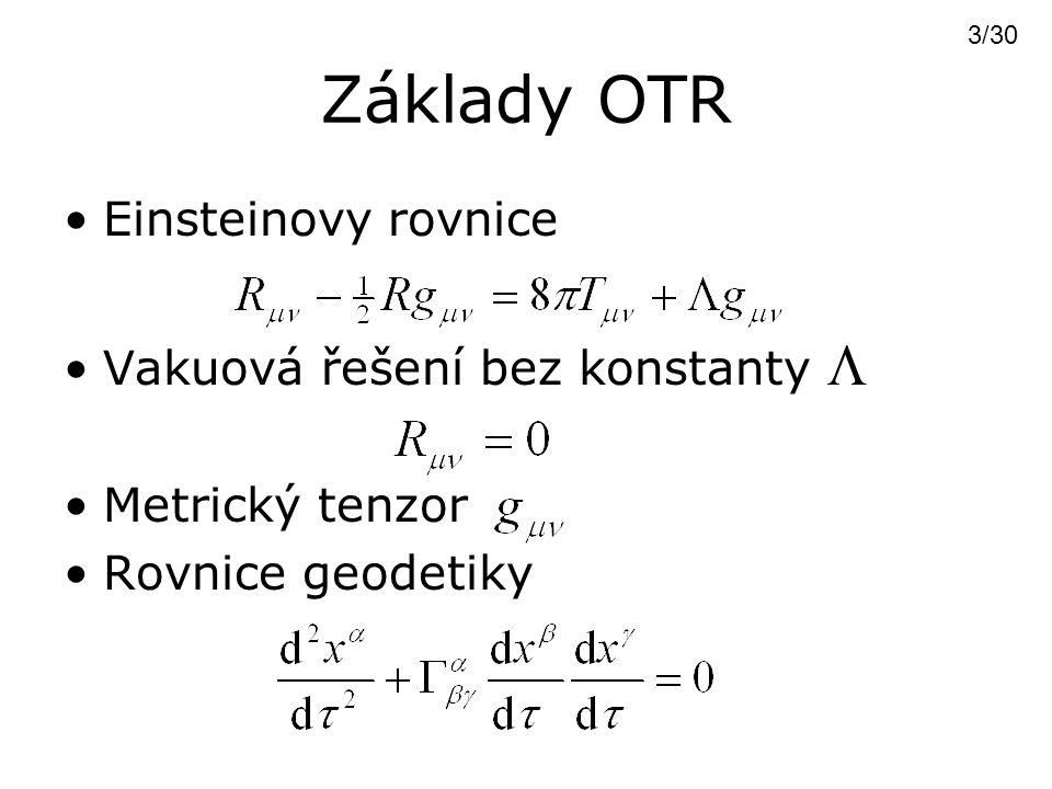 Základy OTR Einsteinovy rovnice Vakuová řešení bez konstanty  Metrický tenzor Rovnice geodetiky 3/30