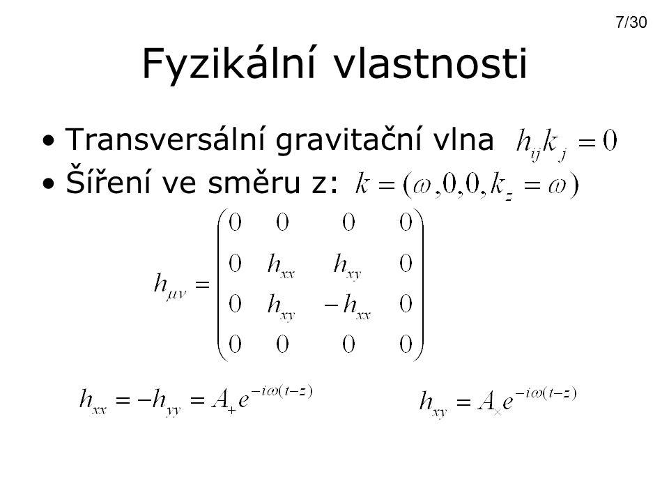Pohyb testovacích částic Rovnice geodetické deviace  = 0  =  /2  =  /  = 3  /2  = 2  /  = 0  =  /2  =  /  = 3  /2  = 2  /  8/30