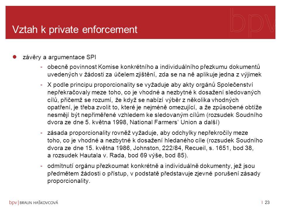 l 22 Vztah k private enforcement argumenty Komise pro odepření přístupu -obsáhlost spisu (až 47.000 stran) -dokumenty byly rozděleny do 11 skupin, na každou se podle předběžného posouzení Komise aplikuje jedna z výjimek, kterou upravuje nařízení č.
