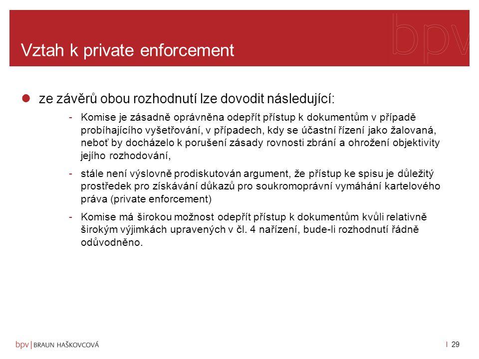 l 28 Vztah k private enforcement argumenty SPI, principy -maximálně efektivní přístup k dokumentům (rozhodnutí ve věci Sison v.