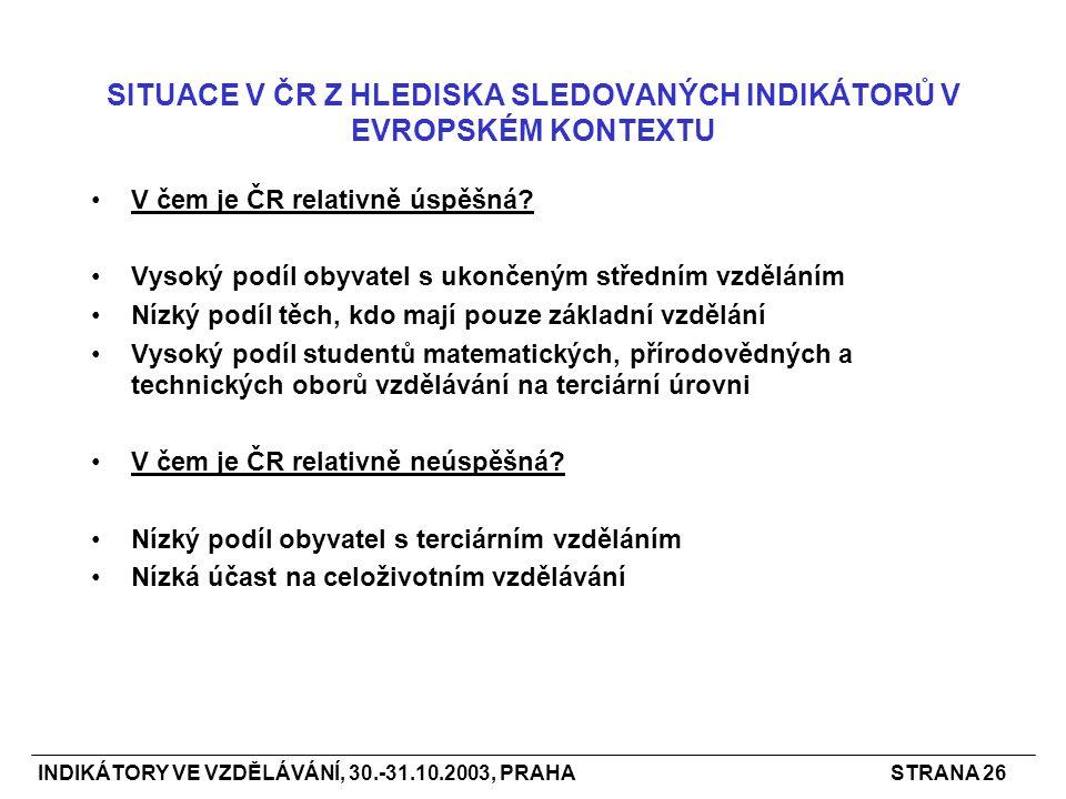 INDIKÁTORY VE VZDĚLÁVÁNÍ, 30.-31.10.2003, PRAHASTRANA 26 SITUACE V ČR Z HLEDISKA SLEDOVANÝCH INDIKÁTORŮ V EVROPSKÉM KONTEXTU V čem je ČR relativně úspěšná.