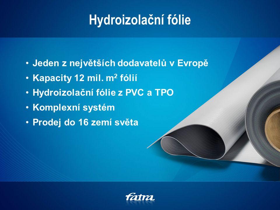 Hydroizolační fólie Jeden z největších dodavatelů v Evropě Kapacity 12 mil.