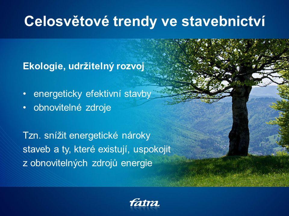Celosvětové trendy ve stavebnictví Ekologie, udržitelný rozvoj energeticky efektivní stavby obnovitelné zdroje Tzn.
