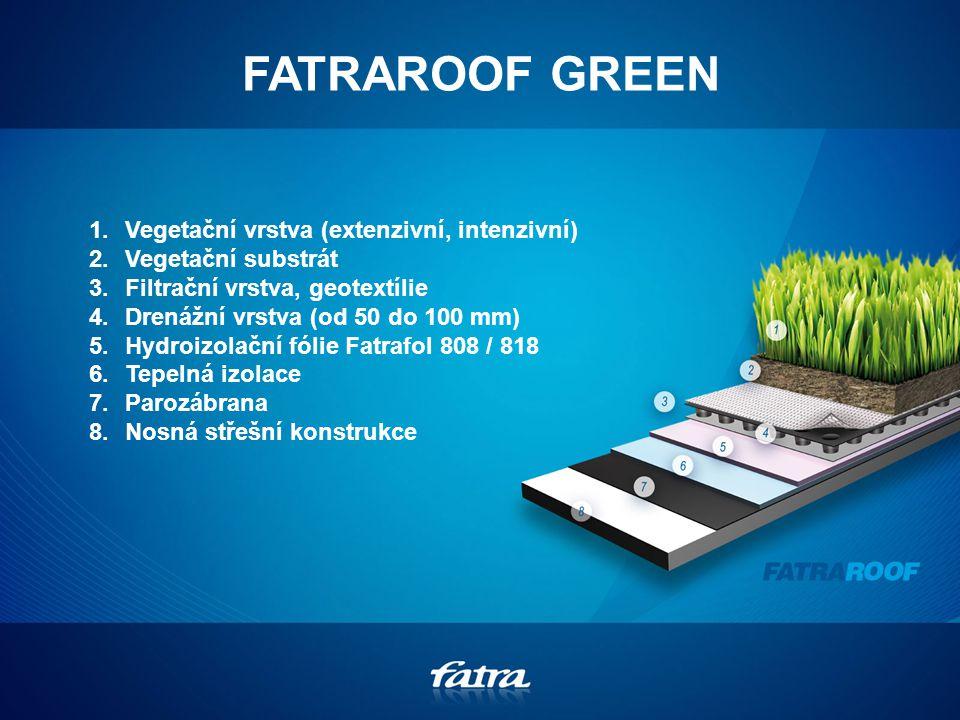FATRAROOF GREEN 1.Vegetační vrstva (extenzivní, intenzivní) 2.Vegetační substrát 3.Filtrační vrstva, geotextílie 4.Drenážní vrstva (od 50 do 100 mm) 5.Hydroizolační fólie Fatrafol 808 / 818 6.Tepelná izolace 7.Parozábrana 8.Nosná střešní konstrukce