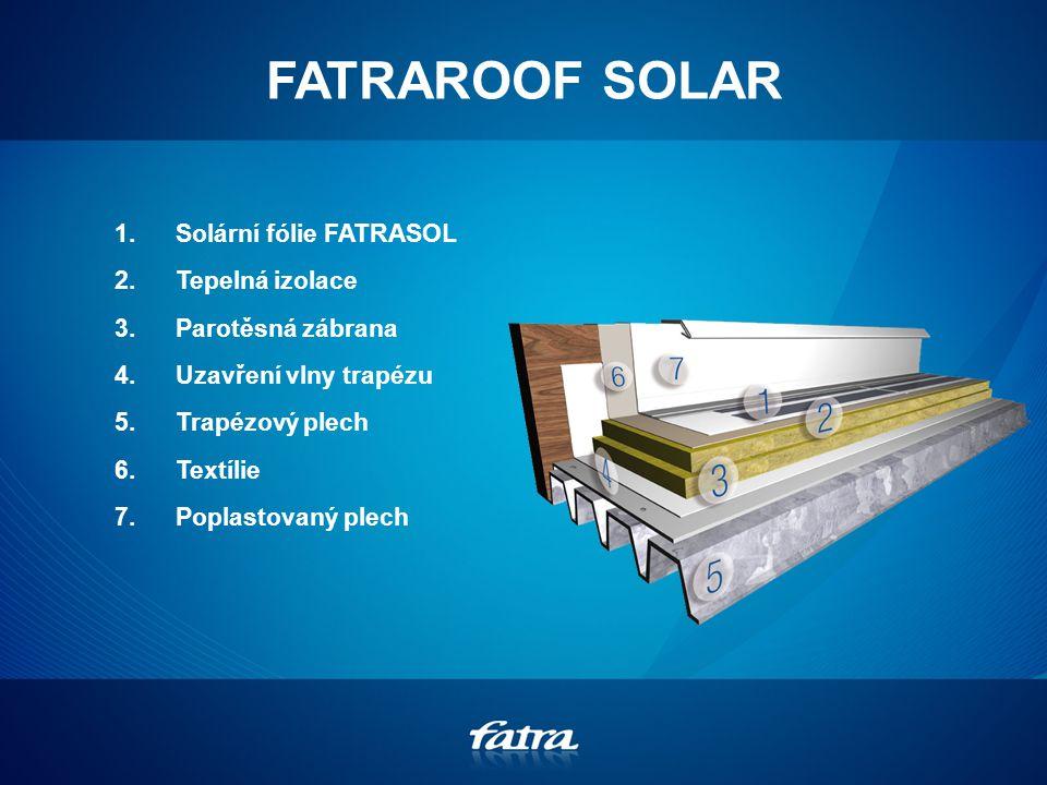 FATRAROOF SOLAR 1.Solární fólie FATRASOL 2.Tepelná izolace 3.Parotěsná zábrana 4.Uzavření vlny trapézu 5.Trapézový plech 6.Textílie 7.Poplastovaný plech