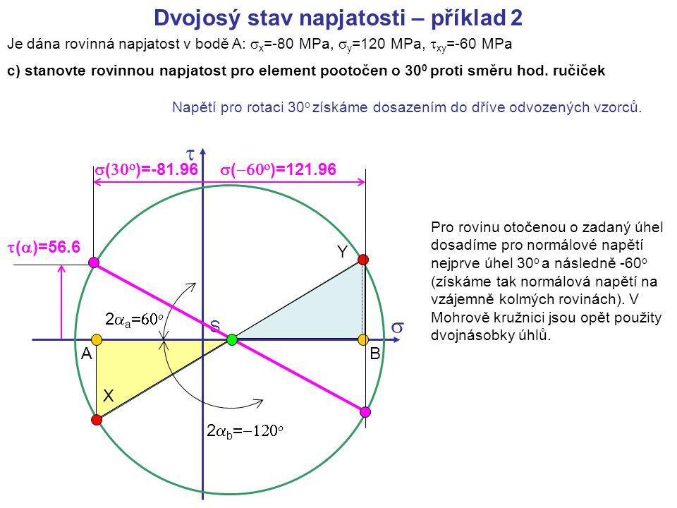 Je dána rovinná napjatost v bodě A:  x =-80 MPa,  y =120 MPa,  xy =-60 MPa c) stanovte rovinnou napjatost pro element pootočen o 30 0 proti směru h