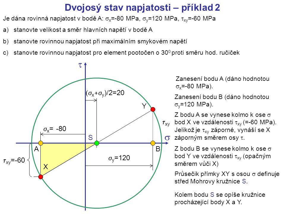 Je dána rovinná napjatost v bodě A:  x =-80 MPa,  y =120 MPa,  xy =-60 MPa a)stanovte velikost a směr hlavních napětí v bodě A b)stanovte rovinnou