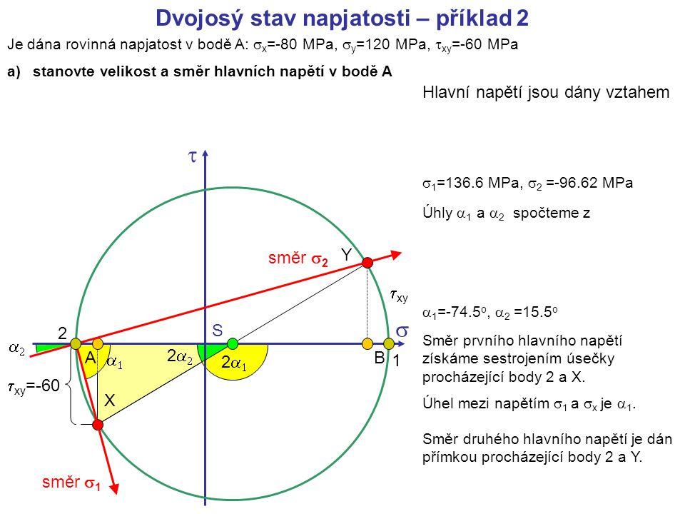Je dána rovinná napjatost v bodě A:  x =-80 MPa,  y =120 MPa,  xy =-60 MPa a)stanovte velikost a směr hlavních napětí v bodě A   X Y AB S  xy Dv