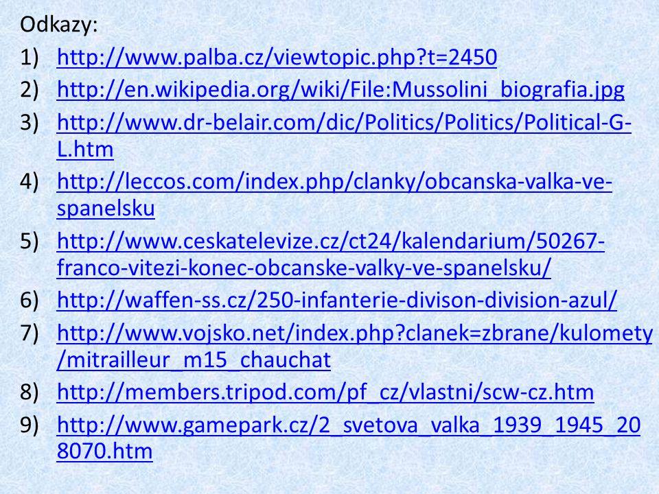 Odkazy: 1)http://www.palba.cz/viewtopic.php?t=2450http://www.palba.cz/viewtopic.php?t=2450 2)http://en.wikipedia.org/wiki/File:Mussolini_biografia.jpg