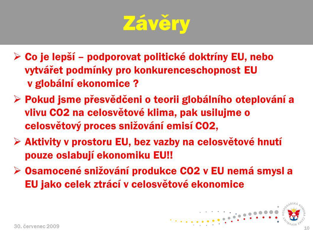 30. červenec 2009 10  Co je lepší – podporovat politické doktríny EU, nebo vytvářet podmínky pro konkurenceschopnost EU v globální ekonomice ?  Poku