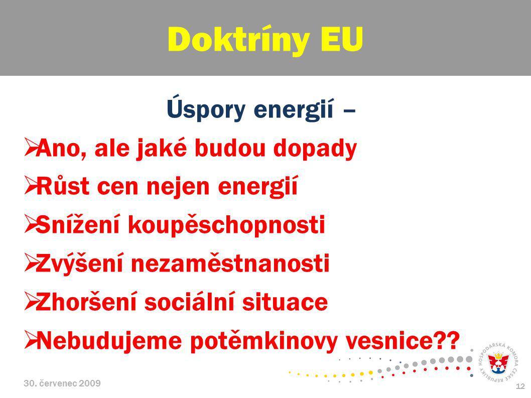 30. červenec 2009 12 Úspory energií –  Ano, ale jaké budou dopady  Růst cen nejen energií  Snížení koupěschopnosti  Zvýšení nezaměstnanosti  Zhor