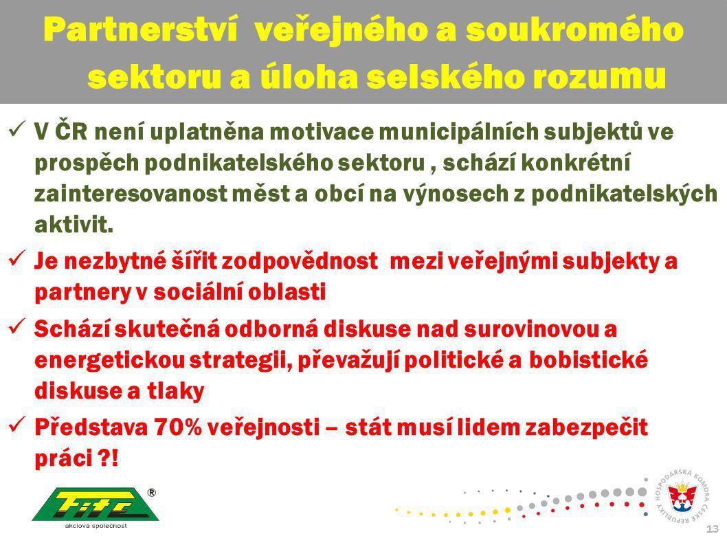 30. červenec 2009 13 V ČR není uplatněna motivace municipálních subjektů ve prospěch podnikatelského sektoru, schází konkrétní zainteresovanost měst a