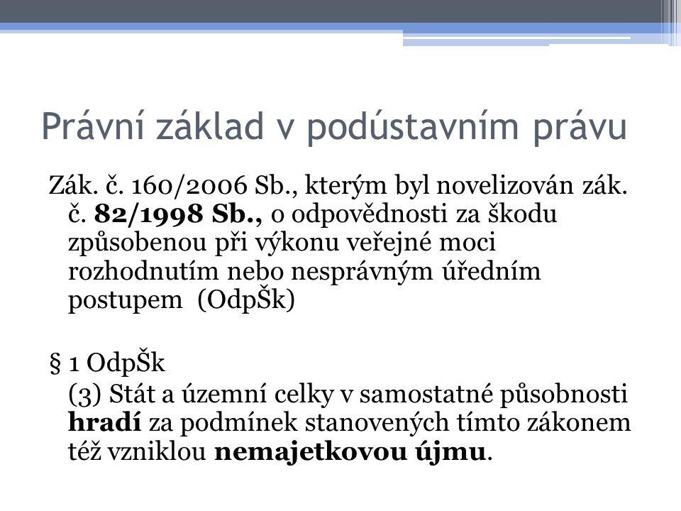 Právní základ v podústavním právu Zák. č. 160/2006 Sb., kterým byl novelizován zák. č. 82/1998 Sb., o odpovědnosti za škodu způsobenou při výkonu veře
