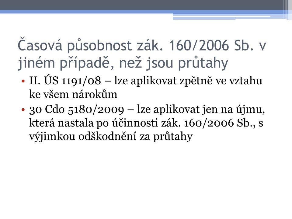 Časová působnost zák. 160/2006 Sb. v jiném případě, než jsou průtahy II. ÚS 1191/08 – lze aplikovat zpětně ve vztahu ke všem nárokům 30 Cdo 5180/2009