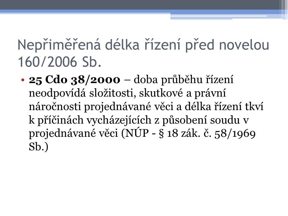 Nepřiměřená délka řízení před novelou 160/2006 Sb. 25 Cdo 38/2000 – doba průběhu řízení neodpovídá složitosti, skutkové a právní náročnosti projednáva