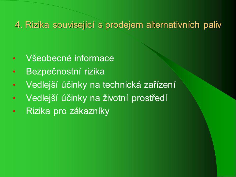 4. Rizika související s prodejem alternativních paliv Všeobecné informace Bezpečnostní rizika Vedlejší účinky na technická zařízení Vedlejší účinky na