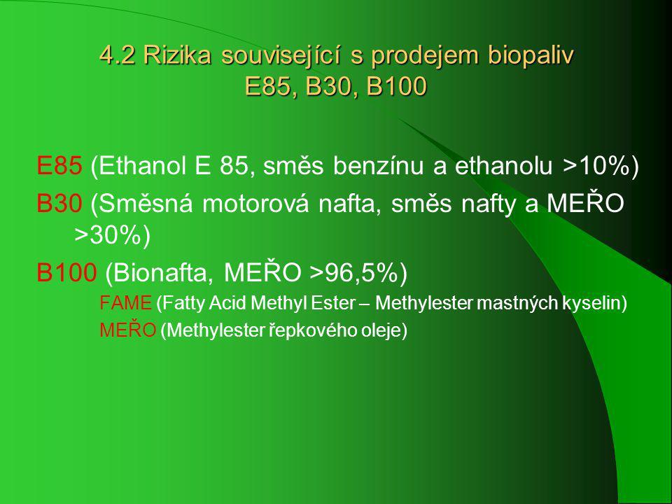 4.2 Rizika související s prodejem biopaliv E85, B30, B100 E85 (Ethanol E 85, směs benzínu a ethanolu >10%) B30 (Směsná motorová nafta, směs nafty a MEŘO >30%) B100 (Bionafta, MEŘO >96,5%) FAME (Fatty Acid Methyl Ester – Methylester mastných kyselin) MEŘO (Methylester řepkového oleje)