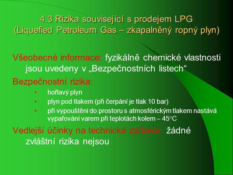 """4.3 Rizika související s prodejem LPG (Liquefied Petroleum Gas – zkapalněný ropný plyn) Všeobecné informace: fyzikálně chemické vlastnosti jsou uvedeny v """"Bezpečnostních listech Bezpečnostní rizika: hořlavý plyn plyn pod tlakem (při čerpání je tlak 10 bar) při vypouštění do prostoru s atmosférickým tlakem nastává vypařování varem při teplotách kolem – 45°C Vedlejší účinky na technická zařízení: žádné zvláštní rizika nejsou"""