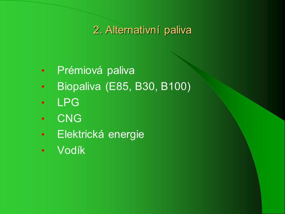 2. Alternativní paliva Prémiová paliva Biopaliva (E85, B30, B100) LPG CNG Elektrická energie Vodík