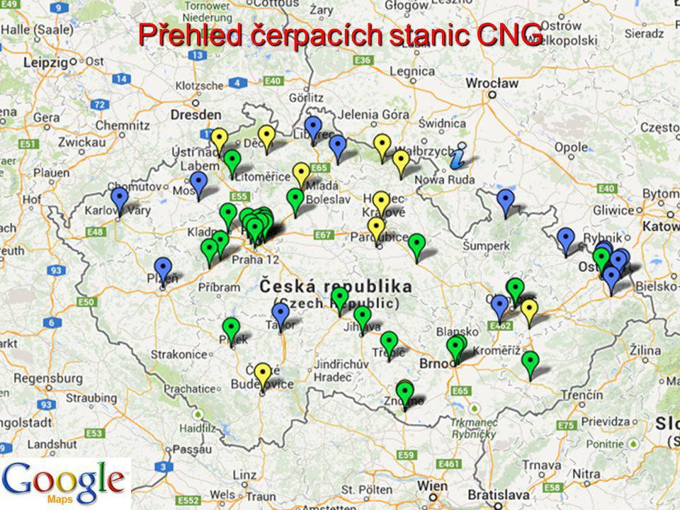 Přehled čerpacích stanic CNG