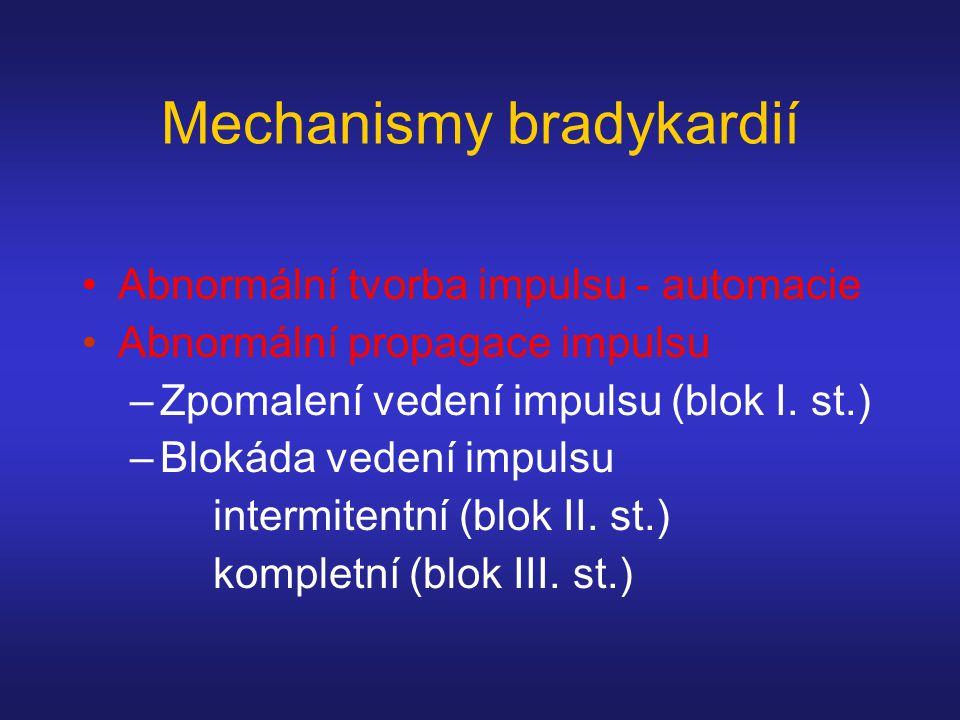 Mechanismy bradykardií Abnormální tvorba impulsu - automacie Abnormální propagace impulsu –Zpomalení vedení impulsu (blok I.
