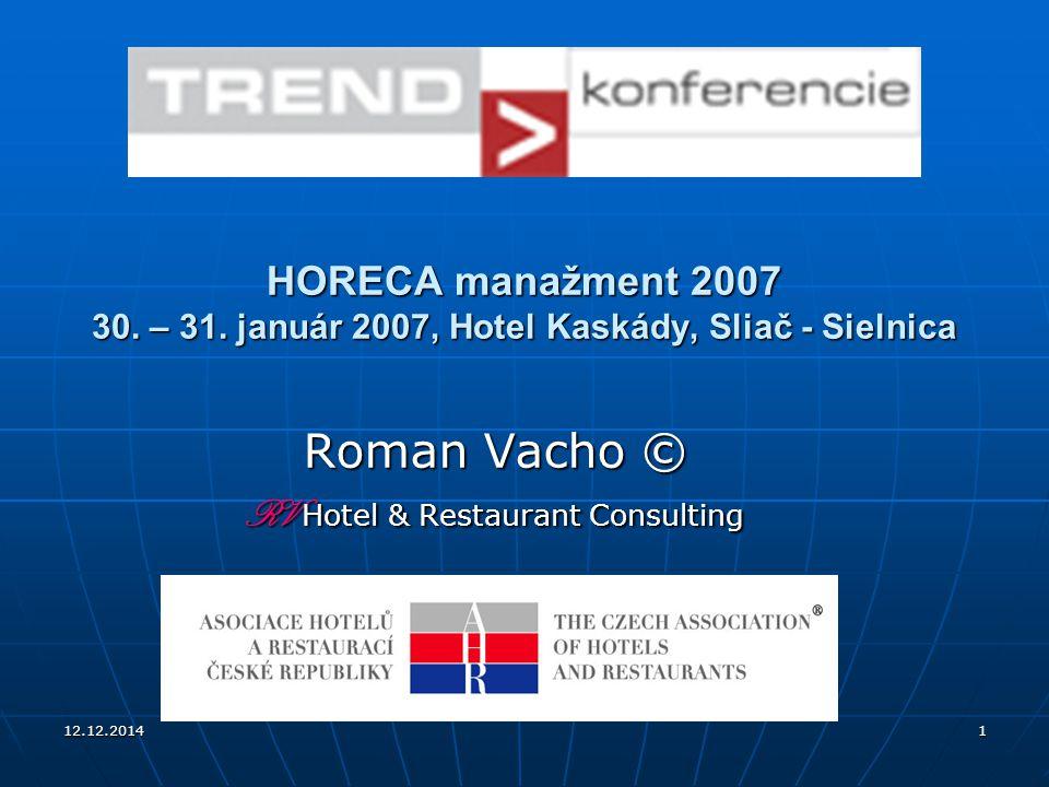 12.12.20141 HORECA manažment 2007 30. – 31. január 2007, Hotel Kaskády, Sliač - Sielnica Roman Vacho © RV Hotel & Restaurant Consulting