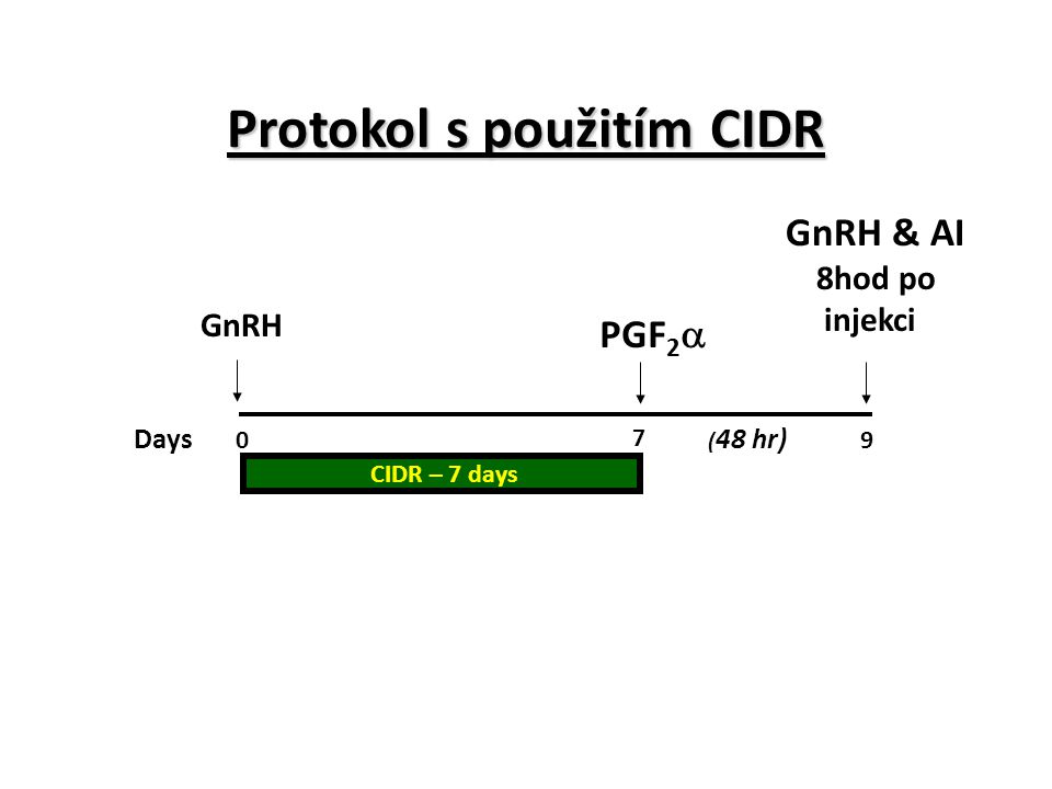 Protokol s použitím CIDR Days 0 7 9 ( 48 hr) PGF 2  GnRH & AI 8hod po injekci CIDR – 7 days GnRH