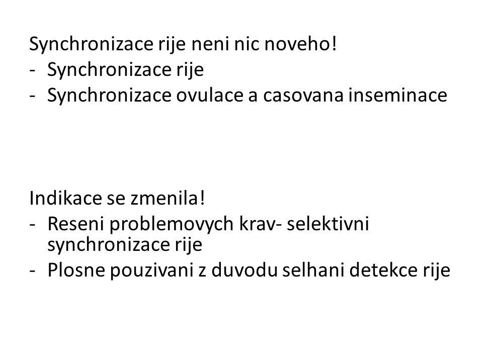 Synchronizace rije neni nic noveho! -Synchronizace rije -Synchronizace ovulace a casovana inseminace Indikace se zmenila! -Reseni problemovych krav- s
