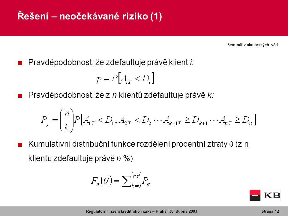 Regulatorní řízení kreditního rizika – Praha, 30. dubna 2003Strana 12 Seminář z aktuárských věd Řešení – neočekávané riziko (1) ■ Pravděpodobnost, že