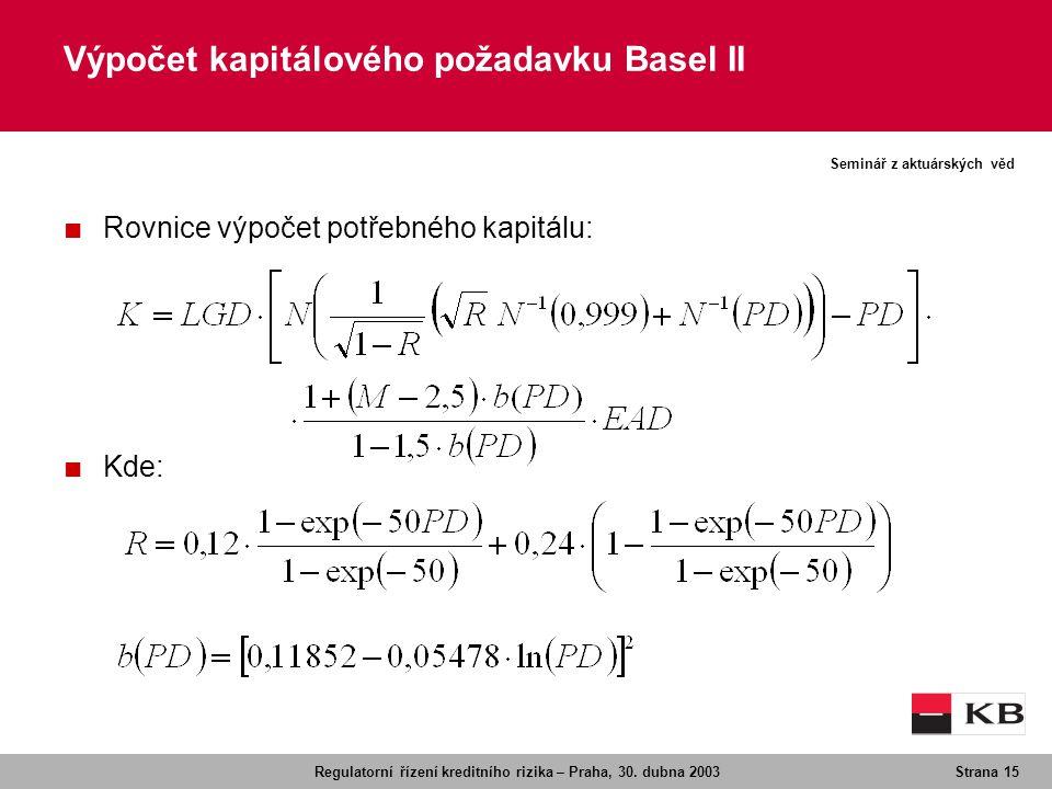 Regulatorní řízení kreditního rizika – Praha, 30. dubna 2003Strana 15 Seminář z aktuárských věd Výpočet kapitálového požadavku Basel II ■ Rovnice výpo