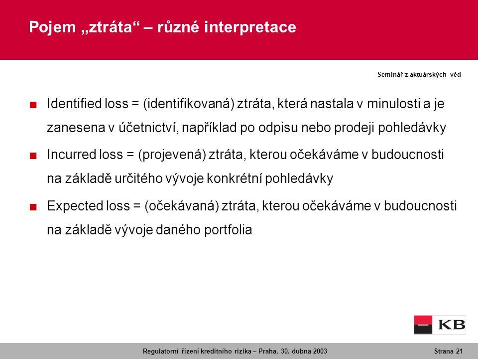 Regulatorní řízení kreditního rizika – Praha, 30. dubna 2003Strana 21 Seminář z aktuárských věd ■ Identified loss = (identifikovaná) ztráta, která nas