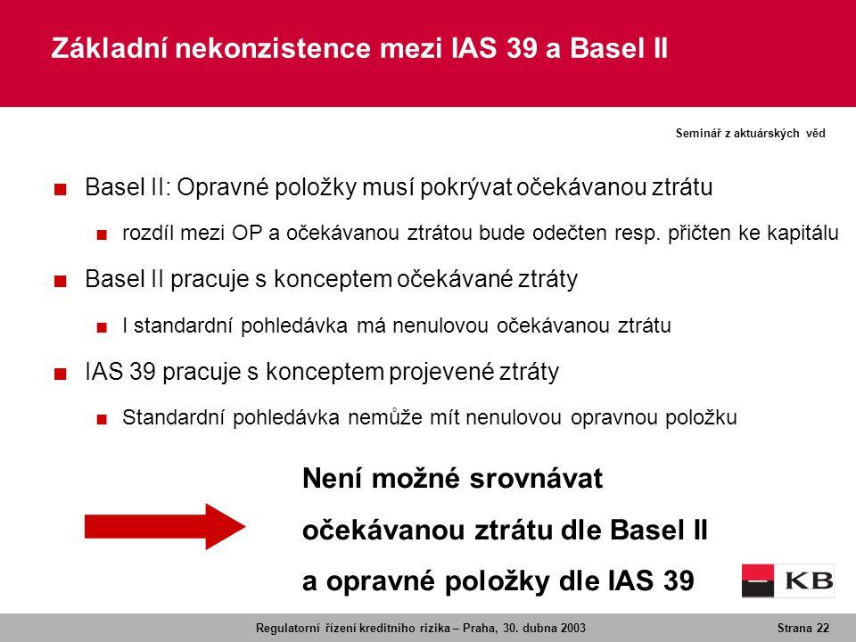 Regulatorní řízení kreditního rizika – Praha, 30. dubna 2003Strana 22 Seminář z aktuárských věd ■ Basel II: Opravné položky musí pokrývat očekávanou z