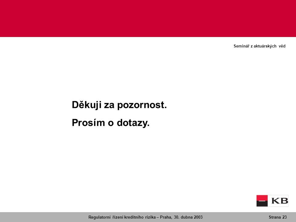 Regulatorní řízení kreditního rizika – Praha, 30. dubna 2003Strana 23 Seminář z aktuárských věd Děkuji za pozornost. Prosím o dotazy.