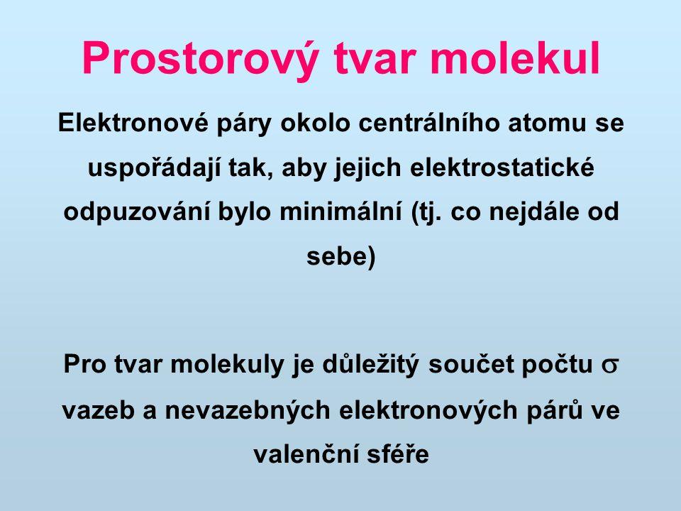 Prostorový tvar molekul Elektronové páry okolo centrálního atomu se uspořádají tak, aby jejich elektrostatické odpuzování bylo minimální (tj.
