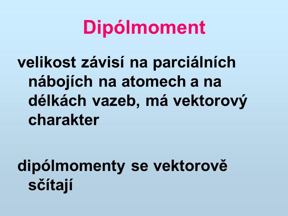 Dipólmoment velikost závisí na parciálních nábojích na atomecha na délkách vazeb, má vektorový charakter dipólmomenty se vektorově sčítají