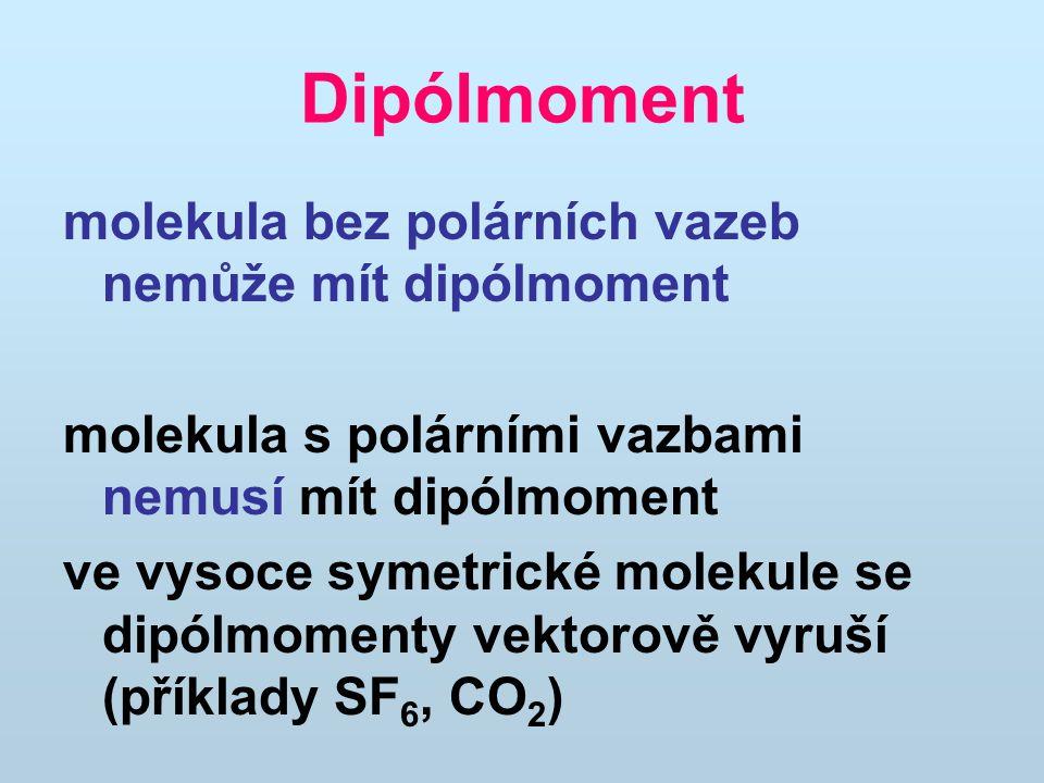 Dipólmoment molekula bez polárních vazeb nemůže mít dipólmoment molekula s polárními vazbami nemusí mít dipólmoment ve vysoce symetrické molekule se dipólmomenty vektorově vyruší (příklady SF 6, CO 2 )