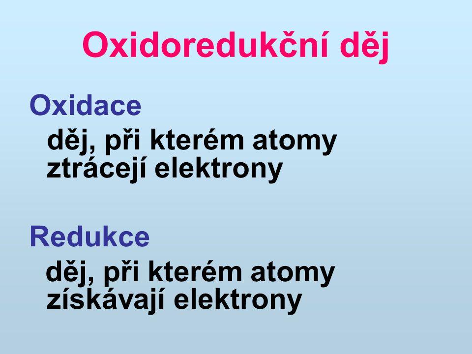 Oxidoredukční děj Oxidace děj, při kterém atomy ztrácejí elektrony Redukce děj, při kterém atomy získávají elektrony