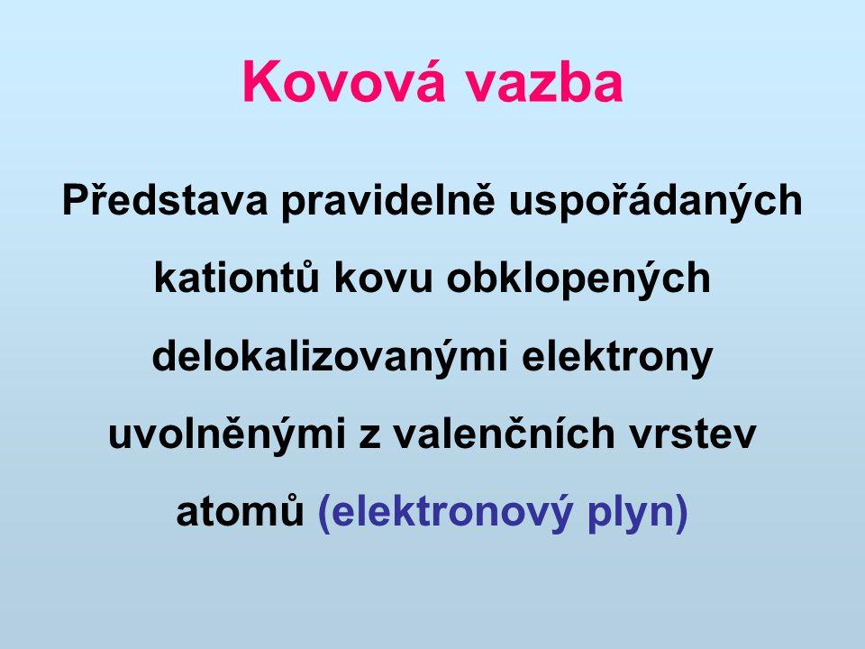 Kovová vazba Představa pravidelně uspořádaných kationtů kovu obklopených delokalizovanými elektrony uvolněnými z valenčních vrstev atomů (elektronový plyn)