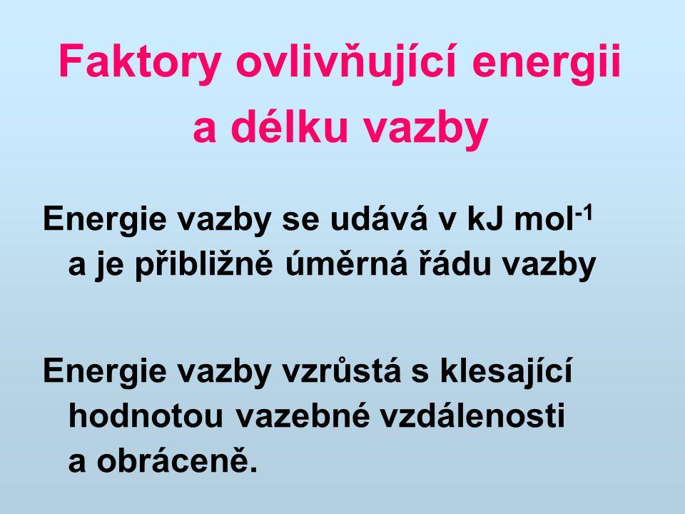 Faktory ovlivňující energii a délku vazby Energie vazby se udává v kJ mol -1 a je přibližně úměrná řádu vazby Energie vazby vzrůstá s klesající hodnotou vazebné vzdálenosti a obráceně.