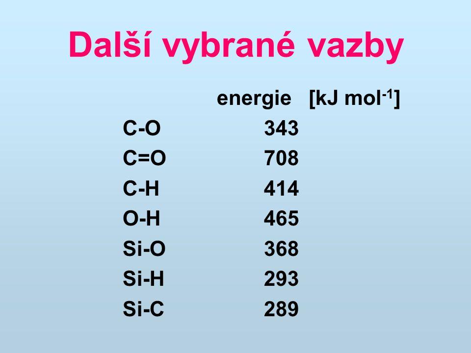 Další vybrané vazby energie [kJ mol -1 ] C-O343 C=O708 C-H414 O-H465 Si-O368 Si-H293 Si-C289