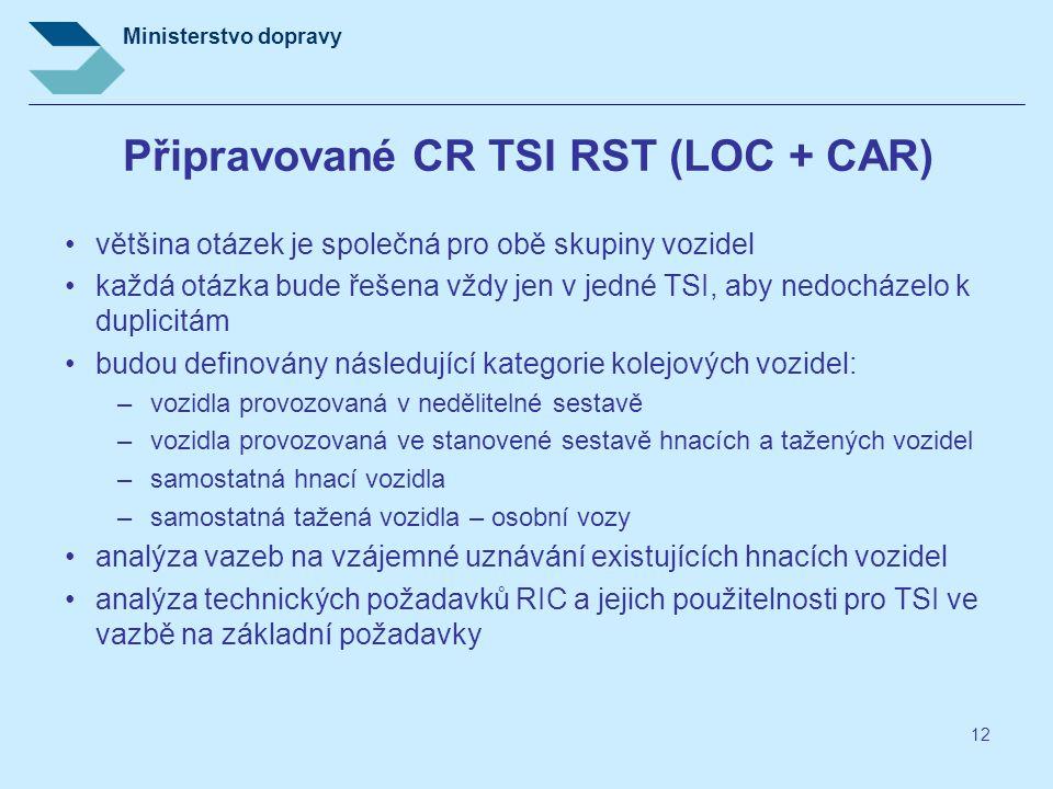 Ministerstvo dopravy 12 Připravované CR TSI RST (LOC + CAR) většina otázek je společná pro obě skupiny vozidel každá otázka bude řešena vždy jen v jed