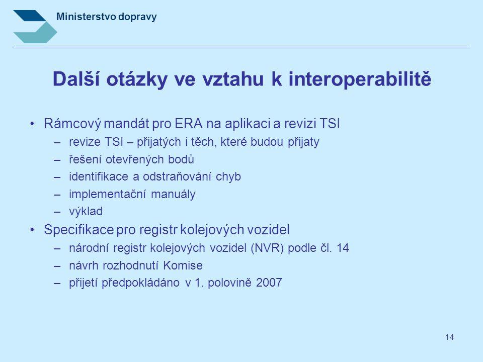 Ministerstvo dopravy 14 Další otázky ve vztahu k interoperabilitě Rámcový mandát pro ERA na aplikaci a revizi TSI –revize TSI – přijatých i těch, kter