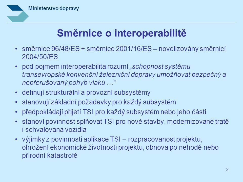 """2 Směrnice o interoperabilitě směrnice 96/48/ES + směrnice 2001/16/ES – novelizovány směrnicí 2004/50/ES pod pojmem interoperabilita rozumí """"schopnost"""